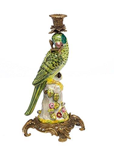 aubaho Bougeoir - Motif Perroquet - Style Antique - Porcelaine/Bronze