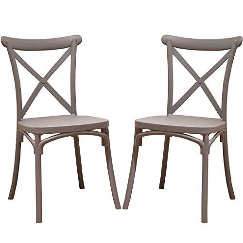 2 x Crossback-Stühle, grau, für Esszimmer oder Küche, mit 2 Stühlen, elegant, für Küche oder Esszimmer, stapelbar, sehr robust.