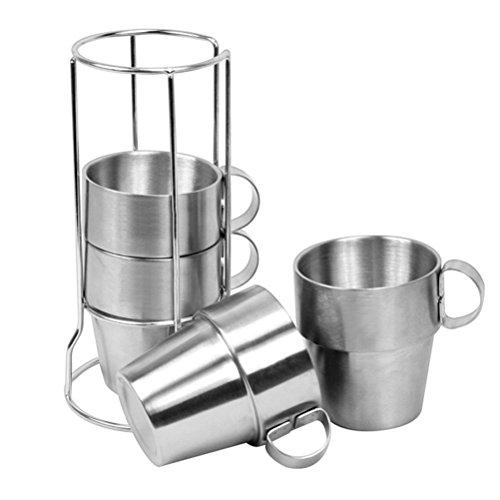 CZ-XING Edelstahlbecher, 4 Stück, für Bier, Kaffee, Tee, doppelwandig, stapelbar, für Camping, Edelstahl in Lebensmittelqualität