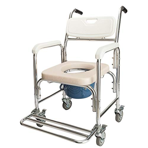 Kücheks Aluminium Medical Commode Rollstuhl 4 in 1 Multifunktionaler professioneller Stuhl Commode Bad Duschstuhl Nachtstuhl Rollstuhl Gewöhnlicher Sofastuhl Heavy Duty 300 LBS