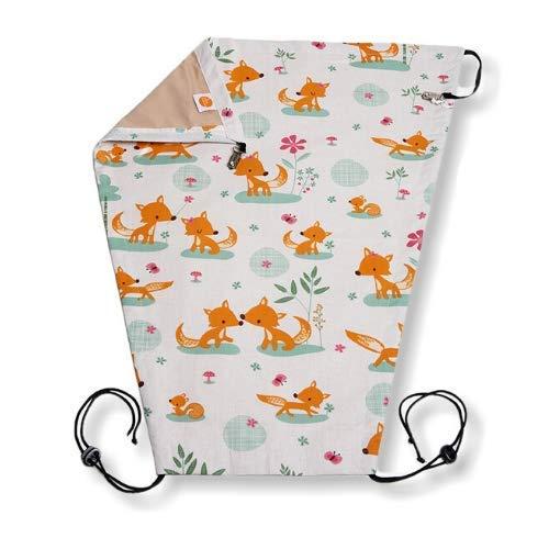 millemarille Sonnensegel für Kinderwagen   mit LSF 80 für höchsten UV-Schutz   universal Sonnenschutz für Babys, passendes Zubehör für jeden Kinderwagen   waschbar, Ökotex 100   Sweet Foxes