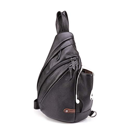 SYyshyin Hiking Backpack Men's Chest Bag Casual Fashion Shoulder Bag Riding Music Messenger Bag Large Capacity Retro Matte Leather Men's Bag (Color : Black)