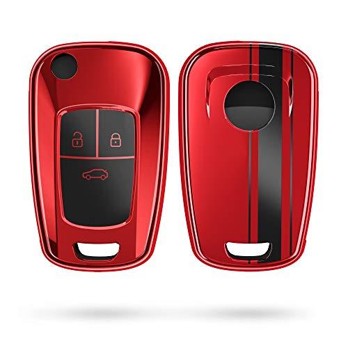 kwmobile Autoschlüssel Hülle kompatibel mit Opel 3-Tasten Klapp Autoschlüssel - TPU Schlüsselhülle Cover Rallystreifen Sidelines Schwarz Hochglanz Rot