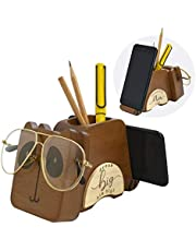 I'm Solid Wood Multipurpose Eyeglass Phone Pen & Pencil Holder Stand Stationery Desk Box Organizer Accessories Decor, Super Cute for Home Office Desktop Decoration Birthday Graduation Gifts