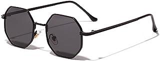 QWKLNRA - Gafas De Sol para Hombre Lente Negra con Montura Negra Montura De Cobre Retro Gafas De Sol Hexagonales Moda para Mujer Sombras De Espejo contra UV Hombres Uv400 Ciclismo Viajes Pesca Gafas D