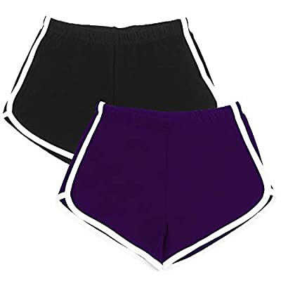 URATOT 2 Pack Cotton Sport Shorts Yoga Dance Short Pants Summer Athletic Shorts Black, Purple