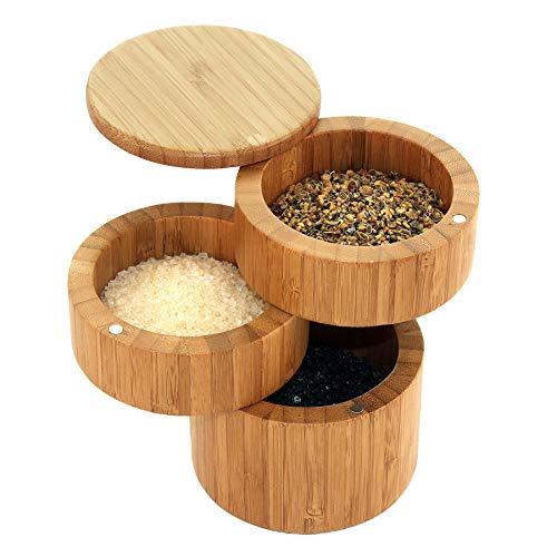 Totally Bamboo BA208551 Magnetische Salz -und Gewürzdosen 3 Ebenen - Bambusholz 8,9 x 8,9 x 12,7 cm