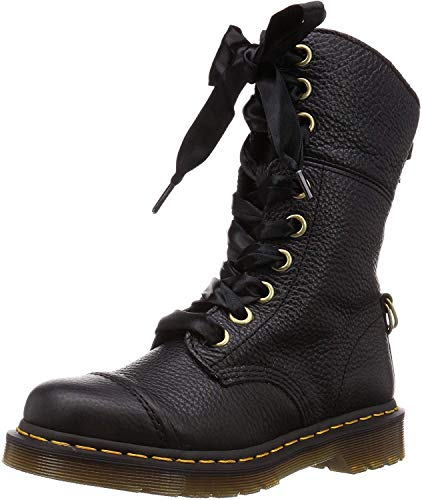 Dr. Martens Women's Aimilita Leather/Tartan Toe Cap 9-Eye Boots - Black/Stewart - UK 4 - Black