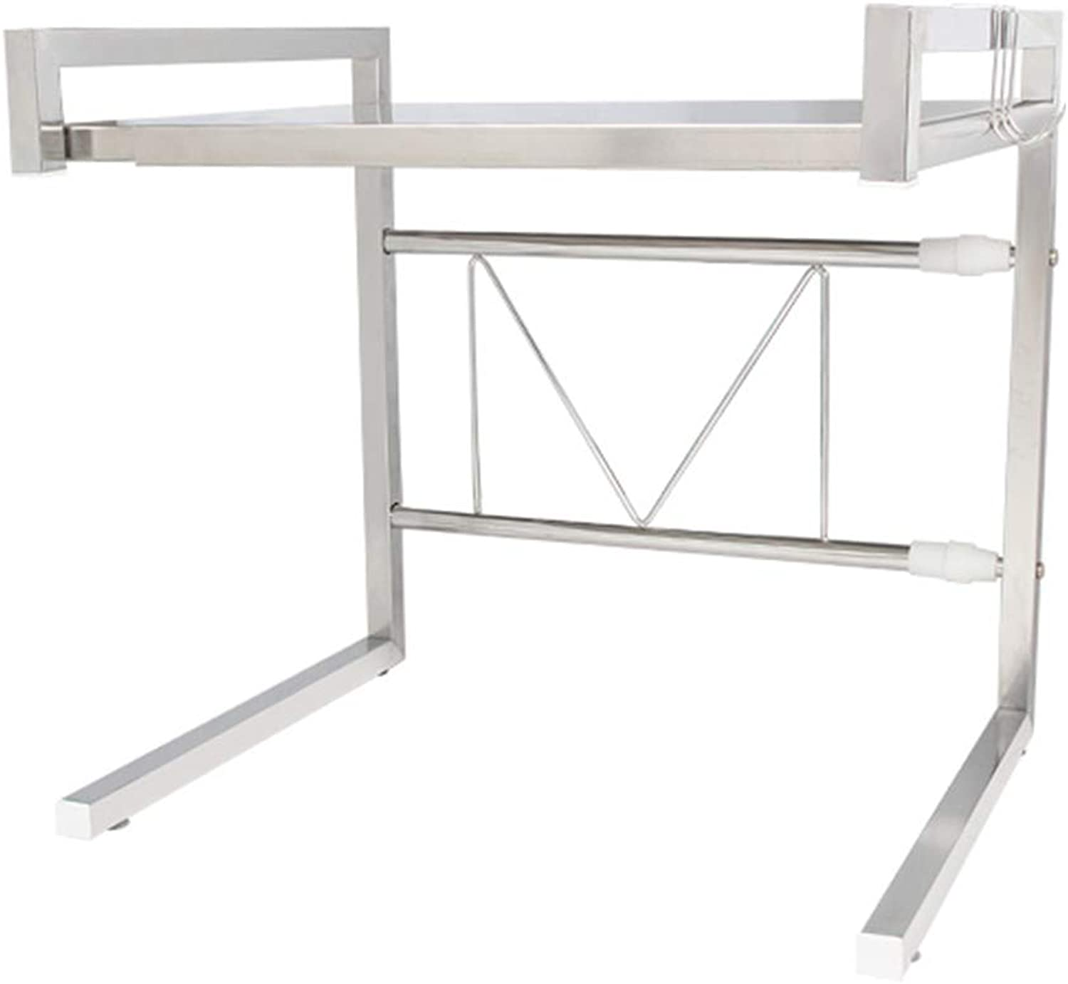 YANZHEN Kitchen Shelf Storage Shelves Floor-Standing Scalable Double The Space Double Layer No Deformation Stainless Steel, 6 colors (color   Steel color, Size   (43-65) x36x42cm)