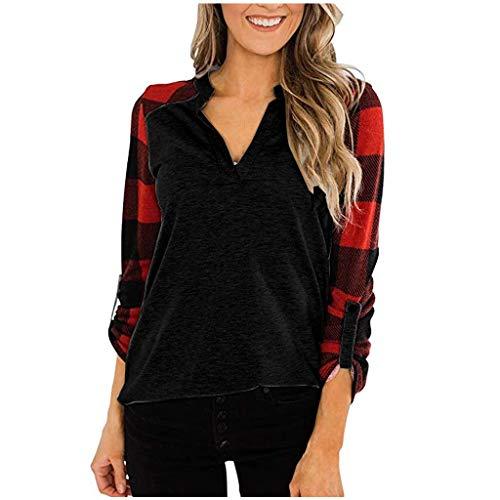 R-Cors Femmes Cotton Pull Grille Sweat Shirt Manche Longue Chandail Hiver Chaud pour Dames Les Loisirs T-Shirt Fille Col Rond Confortable Chemisier(B Noir,L)