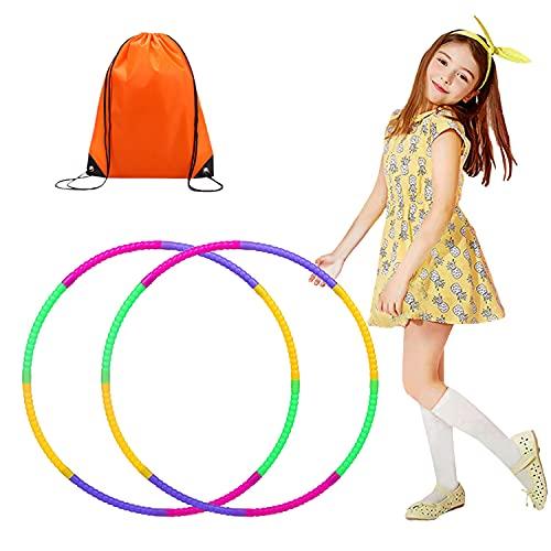 RayE 2 Stück Hoola Hoop für Kinder Kommt mit Kordelzug Tasche, 8 Knoten Abnehmbarer Hula Hoop, The Fitness Hula Hoop, Geeignet für Drinnen und draußen Fitness, Gymnastik, Tanz,Yoga