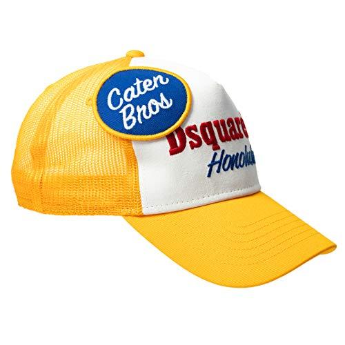DSQUARED2 D2 Trucker Cap gelb, weiß Patch Truckercap Baseball Cap Kappe Mütze