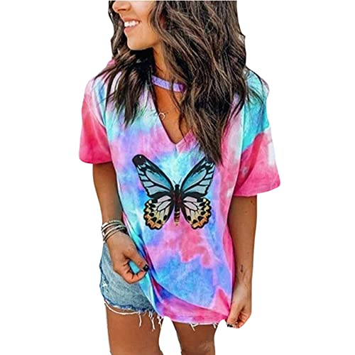 Sommer V-Ausschnitt Tie-Dye Kurzarm Bedruckt Loose T-Shirt Top Damenbekleidung