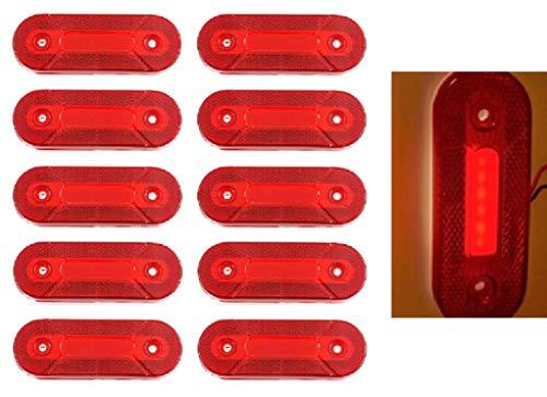Lot de 10 feux de gabarit arrière LED 12 V Rouge fluo pour camion benne pickup caravane van bus