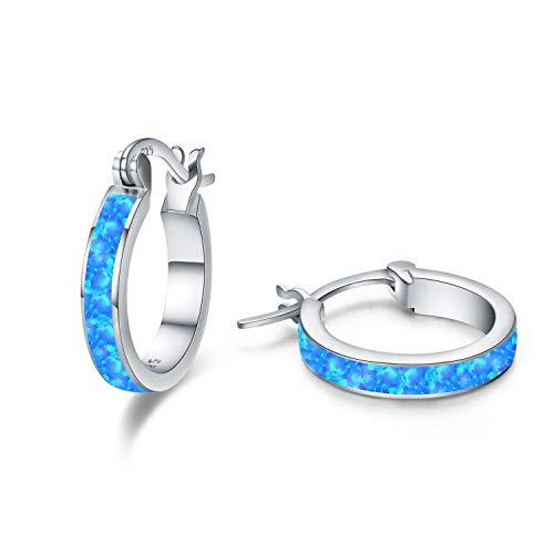 925 Sterling Silber Creolen Ohrringe für Mädchen,Opal Ohrringe Kleine Creolen Kreis Ohrringe Schmuck für Damen Hochzeits Jubiläums Geschenke für Mädchen Mama Frauen