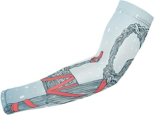 Manga de brazo Protección Uv | Tema Impreso Unisex Protección UV Brazo Mangas de enfriamiento de seda hielo Brazo Cubierta Blanca7-Talla Única