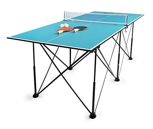 Leomark Compact Table Tennis Mesa de Ping-Pong, Plegable Exterior Portatil fácil Montaje y Transporte Pelotas y Raquetas, para Uso en Interiores, para Adulto y niños en Color Azul, 182,5x91x76cm (A)