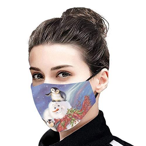 1 Stück Mundschutz 3D Cartoon Druck für Erwachsene Atmungsaktive Waschbare Erwachsene Halstuch Atmungsaktiv Bandana Winddicht Scarf (F)