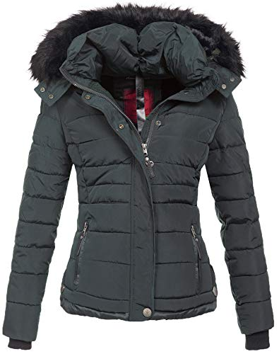 Navahoo warme Damen Winter Jacke Parka Mantel Stepp Kurzjacke gefüttert B301 (XS, Anthrazit)
