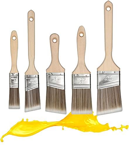 Flachpinsel Set 5-teilig | Holzgriff | Hochwertige Synthetik-Borsten | Aufhänge-Schlaufen | Streichen, Lackieren, Malen | Alle Untergründe | Außen + Innen