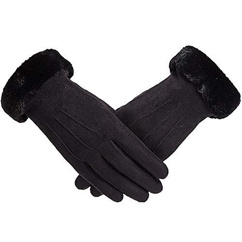 BETOY Handschuhe Damen, Winter Handschuhe Warme Touchscreen Handschuhe Outdoor Sport Fahrradhandschuhe Winddicht Laufhandschuhe Künstliches Wildleder Handschuhe