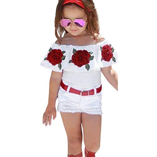 IMJONO Ensemble Bébé Fille Pas Cher,Mode Été Petites Filles Hors épaule Tops imprimés Roses Hauts+ Denim Trou Short Blanc +Ceinture en Cuir Ensemble de Tenues (Blanc,2-3 Ans