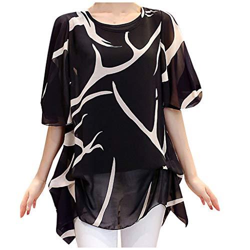 Camisetas Mujer Manga Corta FAMILIZO Camisetas Mujer Verano Blusa Mujer Gasa Tops Mujer Verano Camisetas Sin Hombros Mujer Camisetas Mujer Manga Corta Camiseta Mujer Tallas Grandes (5XL, Negro)