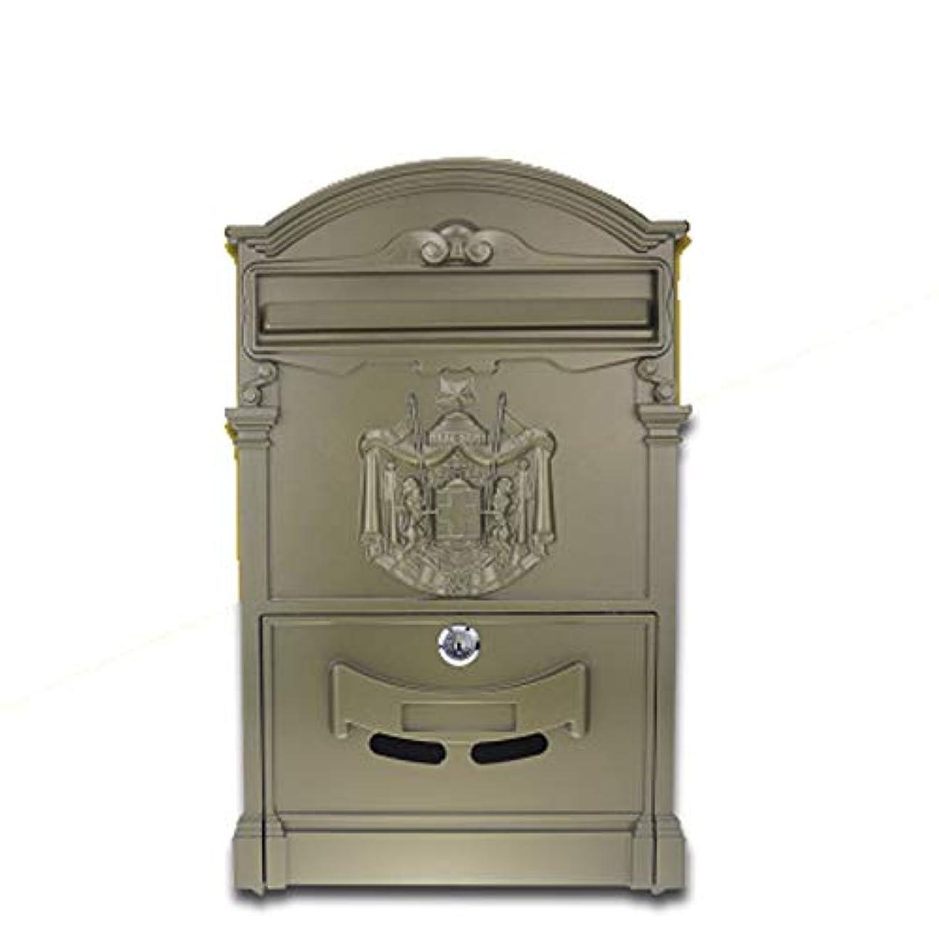 医師白雪姫子孫SHYPwM ビンテージウォール吊り郵便箱ロック可能ポストボックスセキュアレターボックス、防水キャスト2桁のアルミメールボックス (色 : コー??ヒー)
