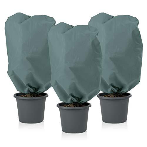 PRIMA GARDEN Pflanzen Schutzhaube Vlies | Sehr Dickes Material | 2 Kordelzüge | Frostschutz und Winterschutz für Kübelpflanzen (M, Grün)