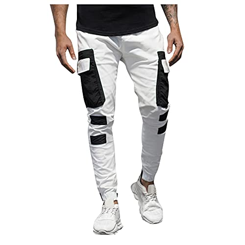 GDJGTA Men Fashion Cargo Pants with Multi Pocket Casual Relaxed Fit Hip Hop Youth Teenager Streetwear (01 White, XXXL)