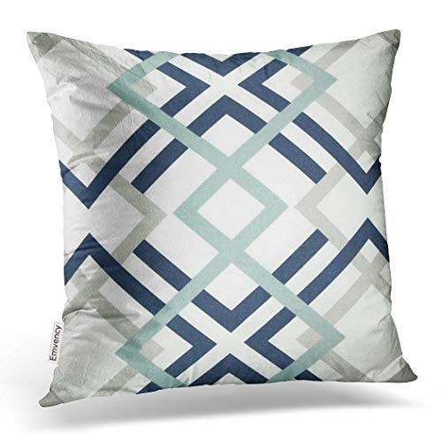 Emvency Throw Pillow Cover Navy Blue and Aqua Graphic Art Decorative Pillow Case Gray Home Decor Square 20 x 20 Inch Cushion Pillowcase with Hidden Zipper Fashion Gift for Bed Sofa Two Sides