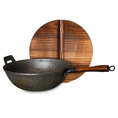 sartén de cocina wok, Buques de hierro para cocinar con tapa de madera de 13 pulgadas, 100% sin transformación, mejor wok con mango de madera, sartén de hierro fundido resistente a los rasguños