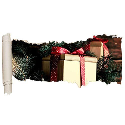 HUIHUI Etiqueta de la pared Regalo de Navidad Regalo Arco Vinilo Agujero de lágrima Chica Niño C688