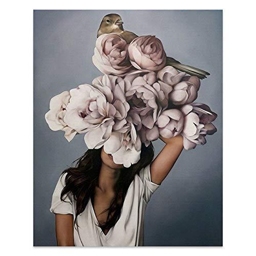 Blumen Federn Frau Abstrakte Leinwand Malerei Wandkunst Druck Poster Bild Dekorative Malerei Wohnzimmer Wohnkultur A12 40x50cm Kein Rahmen