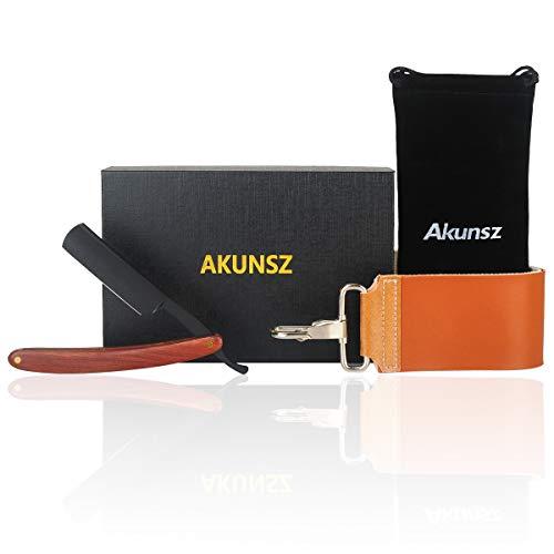 AKUNSZ Straight Razor Kit Black Straight Edge Razor with Leather Strop & Portable Storage Bag - Straight Razor Shaving Kit For Men - Black Matte Blade & Rosewood Handle