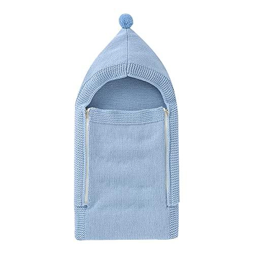 Ueohitsct Manta de punto para recién nacido, con capucha, para recibir saco de dormir de 0 a 4 meses, azul,