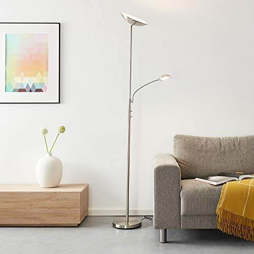 LED Deckenfluter mit Lesearm, 1x 18W LED integriert, 1x 1650 Lumen, 3000K, Metall, eisen