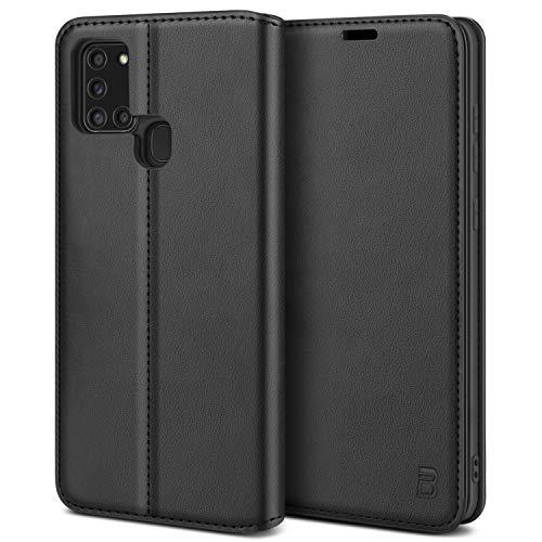 BEZ Handyhülle für Samsung A21s Hülle, Premium Tasche Kompatibel für Samsung Galaxy A21s, Tasche Hülle Schutzhüllen aus Klappetui mit Kreditkartenhaltern, Ständer, Magnetverschluss, Schwarz