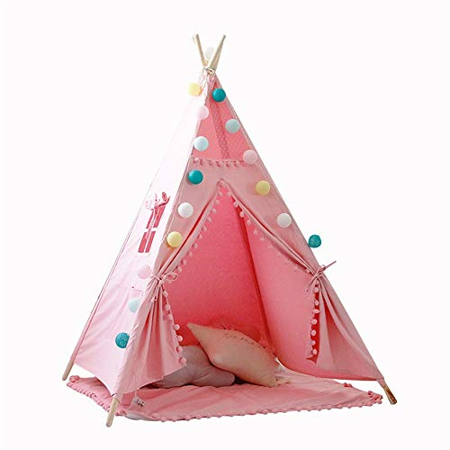 ZHJC Play Tent Children's Tent Cotton Canvas Indoor Playhouse With Lace Ball Design Folding Game Tent With Girl Boy Cushion Window Easy to Assemble (Color : Pink, Size : As shown)