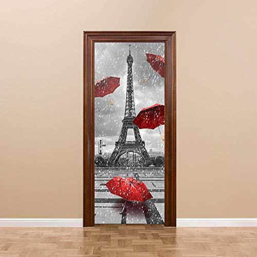 BXZGDJY 3D Türaufkleber Schlafzimmer Türen Renovierung Wasserdichte Tür Aufkleber Einfache Wohnzimmer Wandaufkleber Tapetensticker Fensterbild Wandaufkleber95X215Cm Roter Regenschirm