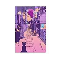 Japan Cat Street City Pop キャンバスポスター寝室の装飾スポーツ風景オフィスルームの装飾ギフト, キャンバスポスター壁アートの装飾リビングルームの寝室の装飾のための絵画の印刷 08x12inch(20x30cm)