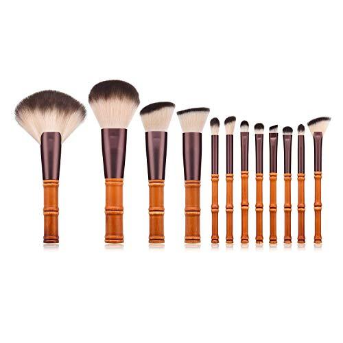 JFFFFWI Ensemble de pinceaux de Maquillage Professionnel, 12 Pcs Foundation Blending Blush Eyeliner Face Powder Brush Fard à paupières Make Up Brushes