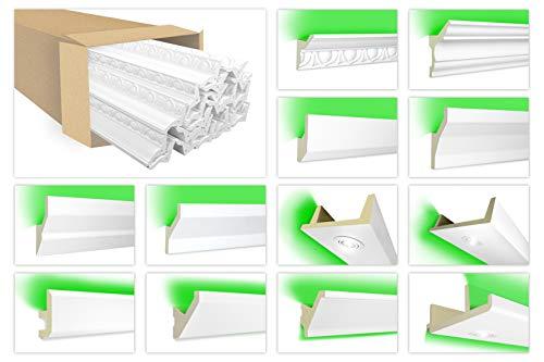HEXIM Listones de estuco LED, iluminación indirecta con listones de techo de...