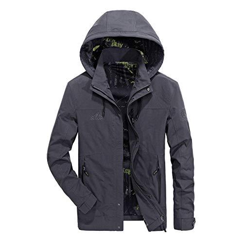 Men's Faux Leather Jacket Biker Fashion Cotton Coats Loose Large Size Men's Jacket-Gray_L