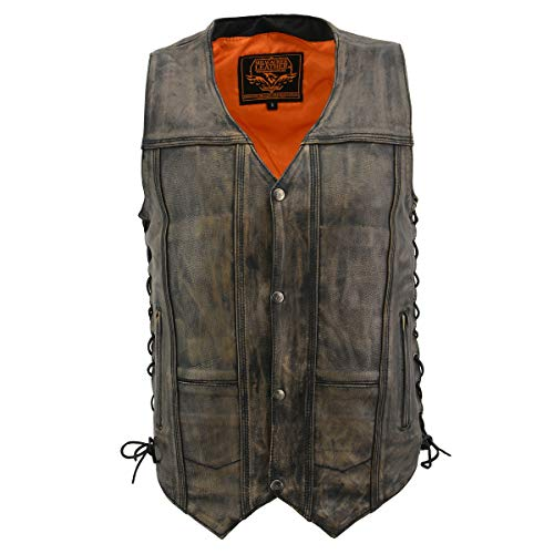 Milwaukee Leather MLM3540 Men's Distressed Brown 10 Pocket Leather Vest with Gun Pockets - X-Large