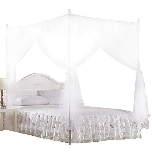 Wifehelper Moskitonetz Luxus Prinzessin DREI Seitenöffnungen Pfosten Bett Vorhang Baldachin Netting Moskitonetz Bettwäsche (L)