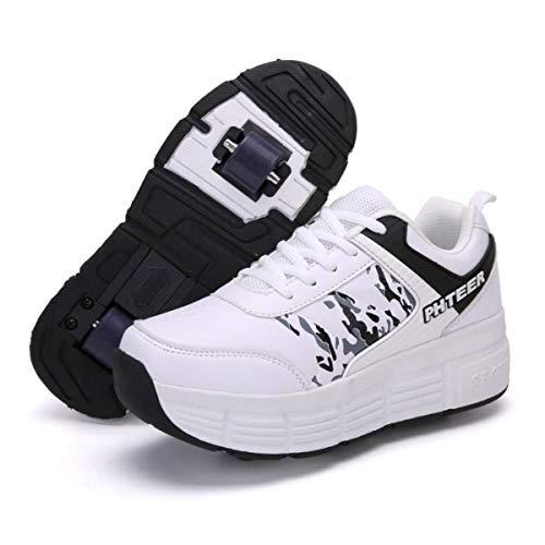Hancoc Zapatos del Patín con Ruedas, Zapatillas De Deporte Zapatos con Ruedas, Patines con Ruedas, Zapatos Al Aire Libre Gimnasia Zapatillas De Deporte De Moda For Jóvenes Adultos Niñera