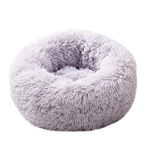 Domybest mand voor honden en katten, rond, comfortabel, wasbaar, van zacht pluche, voor huisdieren, L:70cm, grijs.