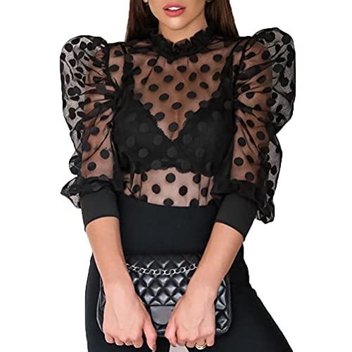 Ayaaa Dames netstof bovenstuk transparant tule mesh blouse lange mouwen top doorzichtige netblouse pofmouwen transparant bovendeel voor dagelijks feest bovendeel met lange mouwen