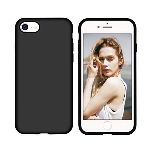 Nupcknn Funda para iPhone SE 2020 / iPhone 8 /iPhone 7, Cáscara Suave de Silicona TPU Líquida Funda Forro de Microfibra Suave Cojín(Negro)